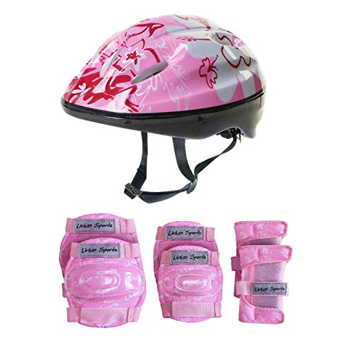 Pink Girls Childrens Combo Kids Helmet KneeElbow Pad set ages 4 10 CyclingSkatingScooterBike