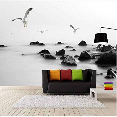 Hyllbb Fototapete Individuelle Fototapeten Moderne Künstlerische Schwarzweiß-Stein-Fototapete Für Wände 3D Wohnzimmer Schlafzimmer-140Cmx100Cm