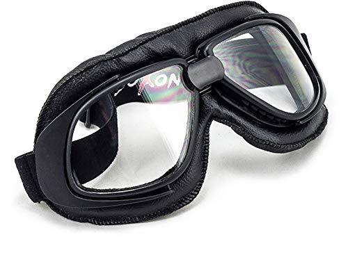 "SOXON® SG-300 ""Night"" · Jet-Brille · Motorrad-Helm Flieger-Brille Retro Roller Scooter Cruiser Oldtimer Vespa Ski-Brille Sport-Brille Vintage Pilot Biker Goggles · BLACK SILVER CLEAR RAINBOW"