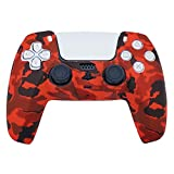 PS5 Silicone Gel Grip Controller Cover Skin Protector (ps5 Red Camo Skin) Compatible for Sony Playstation 5, Compatible for Playstation 5 Accessories, Wireless Controller Protector Covers, PS5 Skin