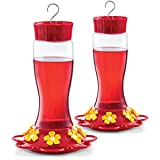 Hummingbird Feeder 30 oz [Set of 2] Plastic Hummingbird Feeders for Outdoors - With Built-in Ant Guard - Circular Perch With 7 Feeding Ports - Wide Mouth for Easy Filling/2 Part Base for Easy Cleaning