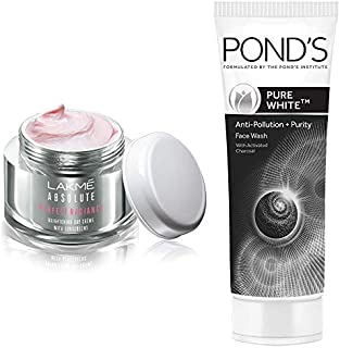 Lakmé Perfect Radiance Fairness Day Creme 50 g & Pond's Pure White Anti Pollution With Activated Charcoal Facewash, 100g