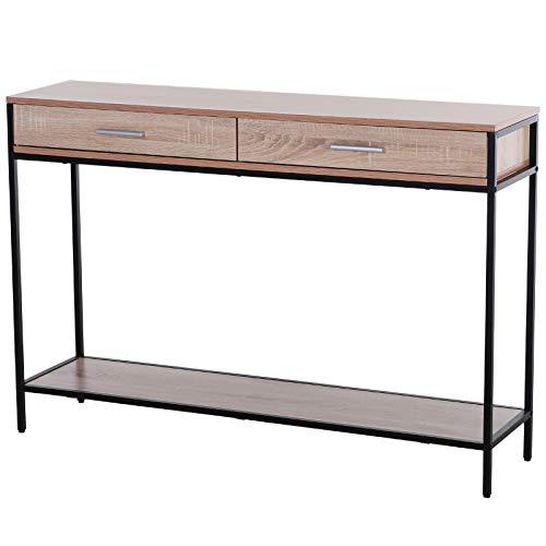 HOMCOM Console Table Worktop Bottom Shelf Home Two Drawer Industrial Minimal Style Oak Wood Tone Effect