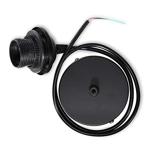 kwmobile Portalámpara E27 con soporte de techo - Casquillo con cable de 80 CM y soporte - Lámpara colgante con base de fijación y montura - Negro