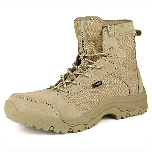 FREE SOLDIER Men's Work Boots 6 inch Lightweight Breathable Military Tactical Desert Boots for Hiking (Sand 10 US)