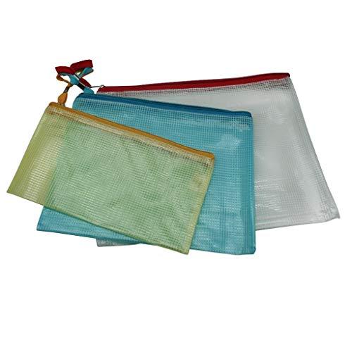 3X Dokumententasche mit Reißverschluss | Zipper Beutel | Reißverschlussbeutel | Reisetasche | Beutelset | Tascheset | Reisehüllen - Transparent