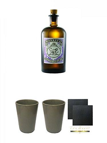 Monkey 47 Schwarzwald Dry Gin 0,5 Liter + Monkey 47 Ton Becher in Grau 1 Stück + Monkey 47 Ton Becher in Grau 1 Stück + Schiefer Glasuntersetzer eckig ca. 9,5 cm Ø 2 Stück