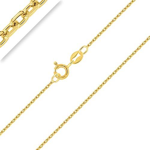 PLANETYS - Chaîne Maille Forçat Diamantée Argent 925/1000 Plaqué Or Jaune 18 Carats Largeur 1 mm 45 cm