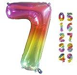 Globo Gigante Multicolor Globos de Cumpleãnos I 101 CM Globo Años I Globo Numero I Decoracion Cumpleaños Niños I Globos Numeros Gigantes para Fiestas I Vuelan con Helio (Numero 7)