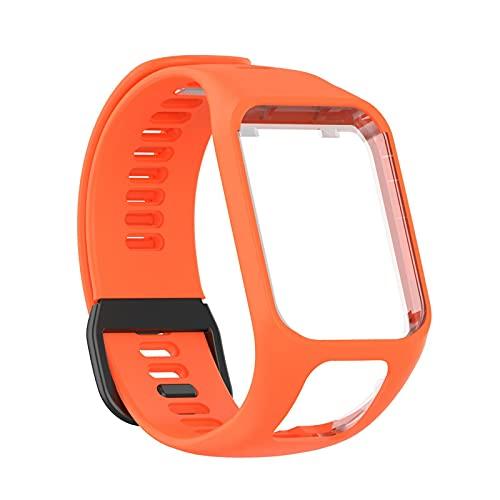 Pulsera compatible con tomtom, pulsera de repuesto, repuesto para reloj de pulsera, accesorio de repuesto para multideporte, cómodas pulseras (naranja zanahoria)