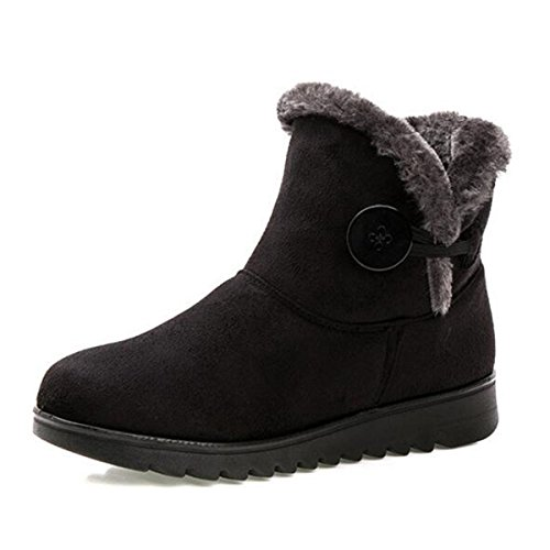 Fur Lined Womens Snow Boots Winter Button Pull on Ankle Booties Shoes Black