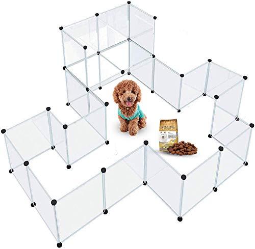 ペットフェンス 24枚セット透明パネル 自由 組み立て 簡単 犬 猫 ペットサークル カスタマイズ 軽量 持ち運...