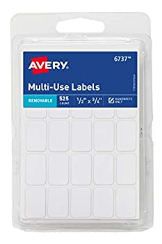 Avery Removable Labels Rectangular 0.5 x 0.75 Inches White Pack of 525  6737