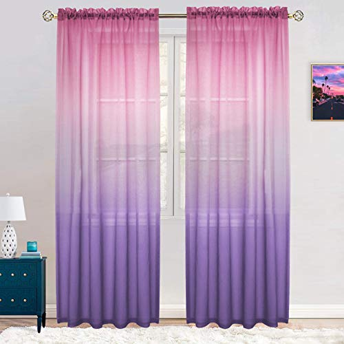 Gradient Semi Sheer Curtains Faux Linen Ombre Voile 100% Polyester Rod Pocket Decorative Reversible Curtain Panels for Living Room, Girls Bedroom, 54 x 84 inch, (42 × 95 inch, Pink & Purple)