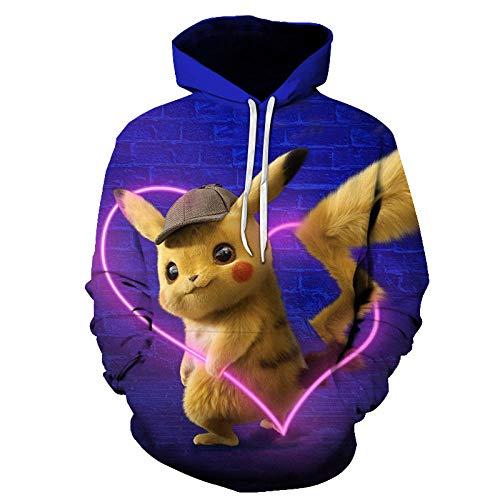 hjbjb Pokemon Detective Pikachu Hombres Mujeres Sudadera con Capucha 3D Estampado De Dibujos Animados Anime Pikachu Linda Sudadera-Wy-289_XXXL