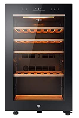 Haier HWS49GA 49 Bottle Single Zone Wine Cooler With Anti-UV Glass Door, Anti-Vibration Shelves - Black by Haier
