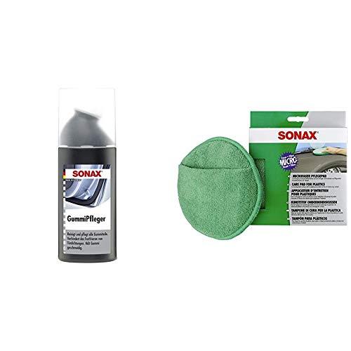 SONAX GummiPfleger mit Schwammapplikator (100 ml) reinigt, pflegt & hält alle Gummiteile elastisch & MicrofaserPflegePad (1 Stück) für gleichmäßiges Auftragen von Kunststoffpflegemitteln