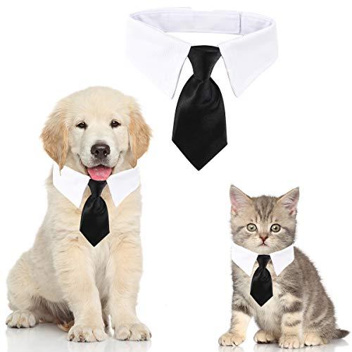 HRP Cane Gatto Cravatta Formale Collare Cotone Animale Domestico Regolabile Papillon per Nozze Partito (L, Black)