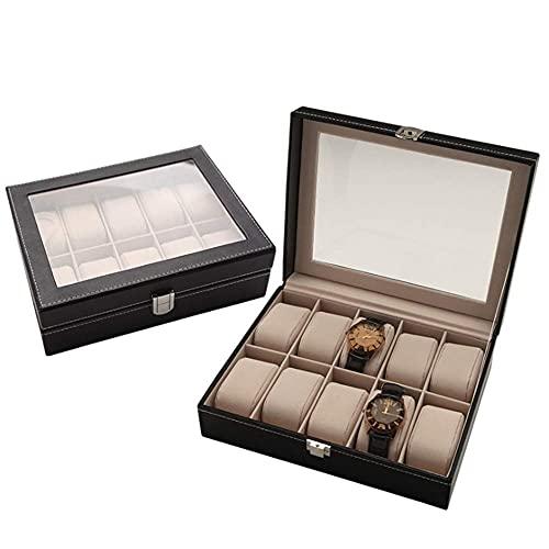 Cajas de reloj de 10 bits, caja expositora de piel sintética para regalo de aniversario de cumpleaños (color: negro, tamaño: 25,5 x 20 x 7,5 cm) (color: negro, tamaño: 25,5 x 20 x 7,5 cm)