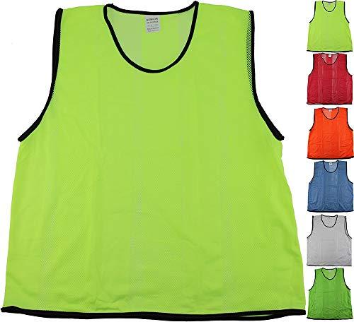 12er Set Leibchen, Markierungshemd für Erwachsene, Damen, Herren, Größe: XL, Farbe: Neongelb – für Fussball, Handball, Basketball, Hockey, Volleyball, Mannschaftssport, Teamsport