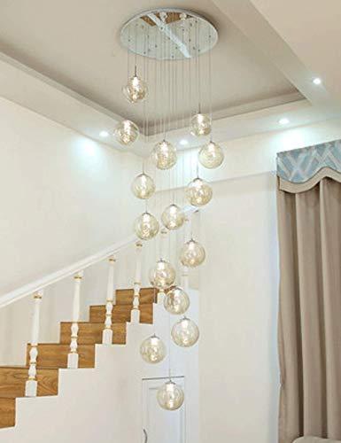 GaLon Minimalistische trap Lange kroonluchter duplex holle Living Loft Kroonluchters Modern Creative Hotel Villa Stairwell Hoog plafond hanglamp glazen bol 15 lights (60x300cm)