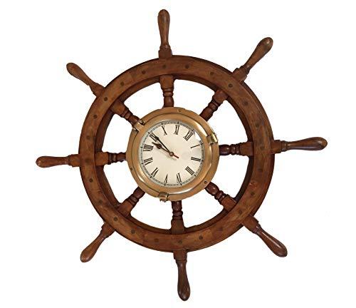 NAUTICALMANIA Rueda de timón Decorativa con Reloj 63x8cm