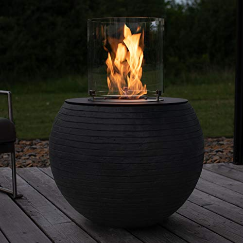 muenkel design MEDA – Bio-Ethanol Feuerstelle Gartenfackel Terrassenfeuer mit Round Burner 300 Brennkammer – Korpus Streifen schwarz