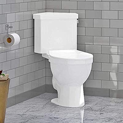 "Magnus Home Products Lawen Single-Flush Two-Piece Corner Toilet, Comfort Height, 18"" L x 35"" W, 100.0 lb"