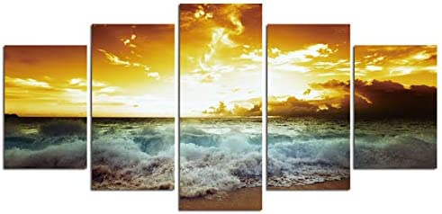 Sea Wave Wall Art Canvas 5 Panel Canvas Paintings for Living Room Sunset Landscape Poster Seascape product image