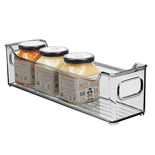 mDesign Fiambrera para el frigorífico – Caja de plástico para guardar alimentos – Organizador de nevera para lácteos, frutas y otros alimentos – gris oscuro