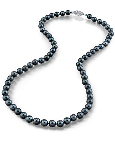 "THE PEARL SOURCE 14K Gold 6.5-7.0mm Round Genuine Black Japanese Akoya Saltwater Cultured Pearl Necklace in 18"" Princess Length for Women"