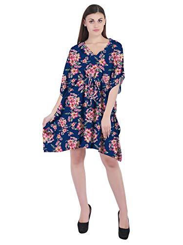 RADANYA Kurzes Kaftan-Kleid mit Blumenmuster, Baumwolle, V-Ausschnitt, Sommerkleidung, Kaftan, marineblau, 34