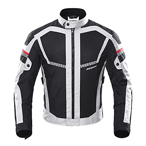 BORLENI Chaqueta de Motocicleta de Moto para Hombre, Respirable, Armadura Protección, reflexión...