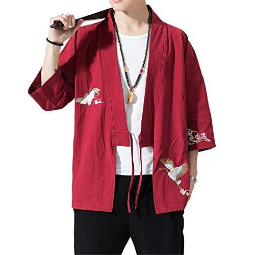 Uomo T-Shirt Cardigan Unisex Stampato Maglietta con Tasche Kimono Giapponese Casual Moda Primavera-Estate,Vino Rosso,2XL