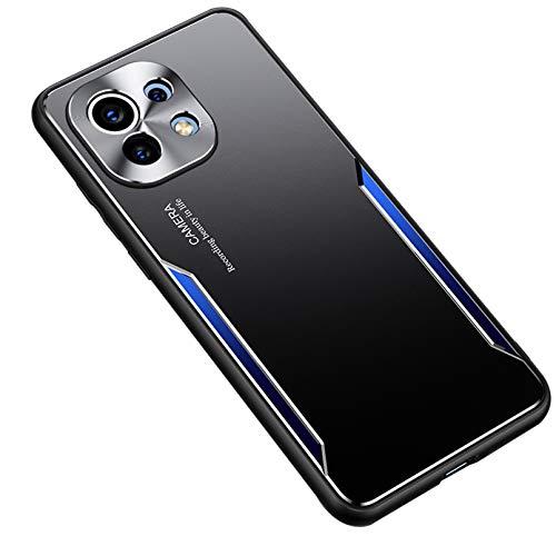 FINEONE® Funda para Xiaomi Mi 11, Armadura híbrida de Aluminio Metal a Prueba de Golpes Marco de Parachoques Carcasa de Silicona Suave, Azul