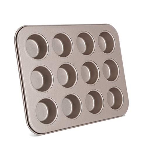 Yarnow Cupcake Bakvormen Muffin Pan Mini Maisbrood Pan Anti-Aanbak Metalen Kookgerei Voor Jello Zeep Bakken Maken Schimmel Levert 12 Roosters Gouden