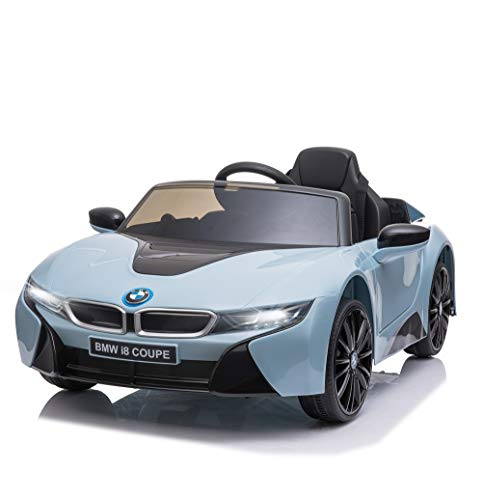 Aosom Licensed BMW I8 Coupe Electric Kids Ride-On Car 6V Battery Powered Toy with Remote Control Music Horn Lights MP3 Suspension Wheels for 3-8 Years Old Blue