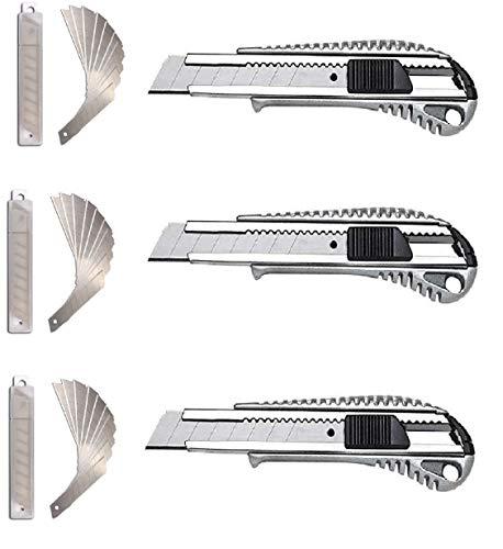 3 Stück Alu Druckguss Cuttermesser plus 30 Ersatzklingen, Kartonmesser, Teppichmesser, Paketmesser, Cutter Abbrechklinge Allzweckmesser Universalmesser mit 18 mm Abbrechklinge