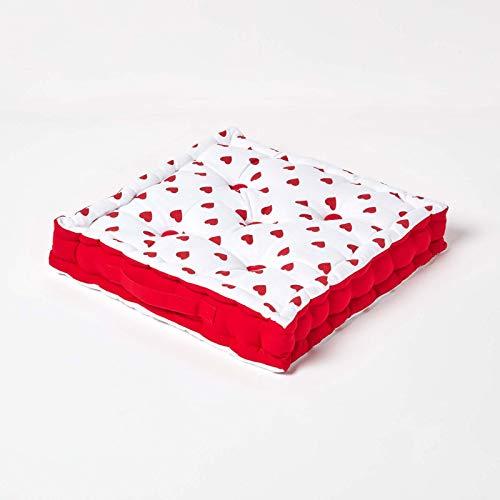 HOMESCAPES Cojín Acolchado para Suelo con Patrón de Corazones Color Rojo 40 x 40 cm