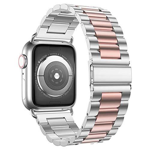 TIANQ Estuche + Correa para Apple Watch Band 44 Mm 40Mm Iwatch 42Mm / 38Mm Bracele De Metal De Acero Inoxidable para Apple Watch 5 4 3 38/40/42 / 44Mm, China, Silver Rose