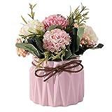 LZL Flores Artificiales Set (Flor + jarrón) Flores Falsas de cerámica Cuerda de cáñamo decoración jarrón de Flores de Seda Artificial de Plantas en Maceta Home Boda (Color : Pink)