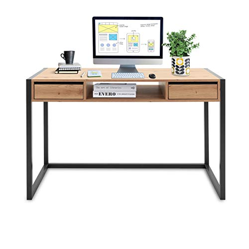 COSTWAY Bürotisch mit 2 Schubladen und 1 offenem Fach, Sekretär Schreibtisch, Konsolentisch, Computertisch, Arbeitstisch, PC Laptop Tisch ideal für Schlafzimmer, Arbeitszimmer und Büro, 120x60x75cm