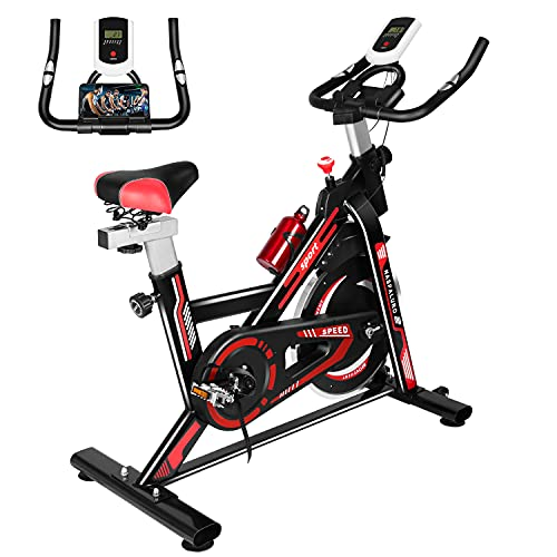 Naspaluro Exercise Bikes, Stationary Indoor Fitness Bike Cycling with Phone Holder/LCD Display/Heart Rate Monitor, Belt Drive Flywheel Workout Bike Bicycle for Home Training, Cardio Workout