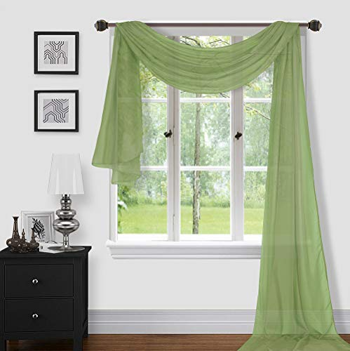 """Sapphire Home 1pc Window Sheer Voile Scarf Valance, Decorative Sheer Valance for Window Home Decor, Solid Color, Valance (37""""x216"""") Sage Green"""