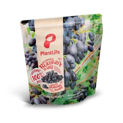 PlantLife Pasas BÍO 'Black Bukhara' 1kg – pasas negras crudas – secadas a la sombra – sin endulzantes ni conservantes sulfurosos - 100% reciclable