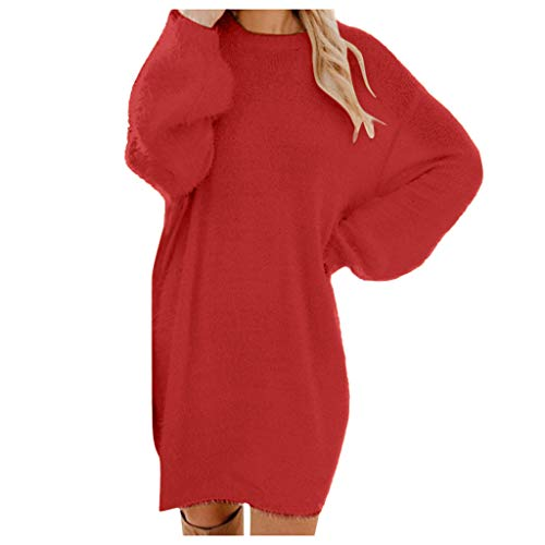 Pulloverkleid Damen Lang Elegant Oversize Frauen Einfarbig Rundhals Langarm Herbst Winter Warm Strickkleider Für Damen Knielang Lose...