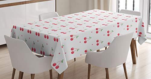 ABAKUHAUS Cerise Nappe, Fruits d'été et à Pois, Linge de Table Rectangulaire pour Salle à Manger Décor de Cuisine, 140 cm x 170 cm, Corail Blanc