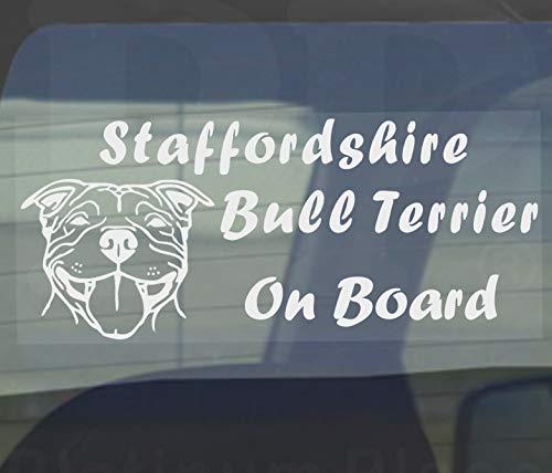 Staffordshire Bull Terrier chien sur planche sticker-car, van-staff Motif fenêtre Staff Panneau