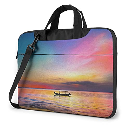 Laptop Sleeve Bag Sunset Boat Sea Artwork Tablet Briefcase Ultraportable Protective Canvas for 13 inch MacBook Pro/MacBook Air/Notebook Computer