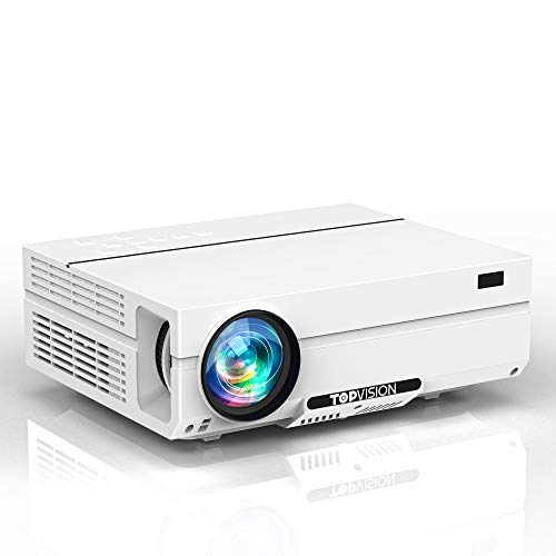 Projector Native 1080P, TOPVISION Video Projector [ Carrying Case Included] Full HD Movie Projector for Outdoor Moive Night Projector Compatible with TV Stick,HDMI,VGA,USB, Smartphone,PC,Xbox